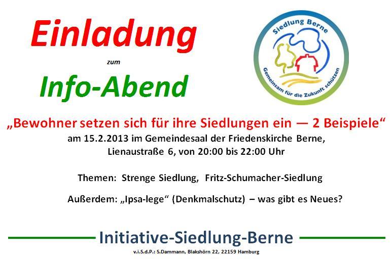 Einladung zum Info-Abend am 15.2.2013 um 20 Uhr im Gemeindehaus Lienaustraße